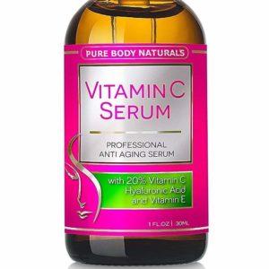 Pure Body Naturals Sérum de la Vitamine C pour Le Visage à l'Acide hyaluronique, 20% C + E, Facial Local Professionnel