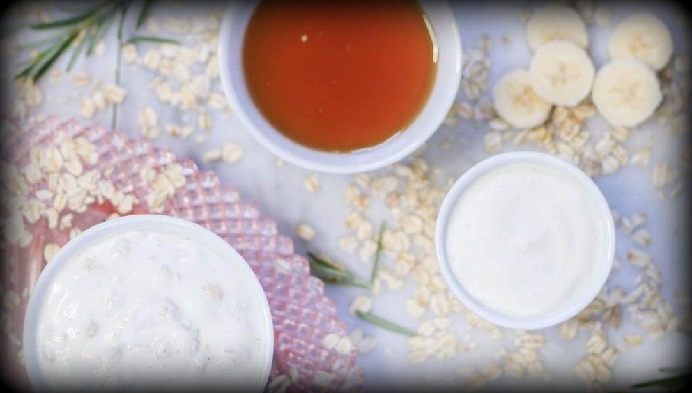 6. Masque à la banane, au yogourt et au miel