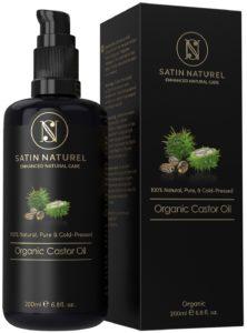 Huile de ricin bio hydratante pour la beauté de la peau, des cheveux et des ongles 200 ml - Huile naturelle conditionnée dans un distributeur en verre protégeant de la lumière